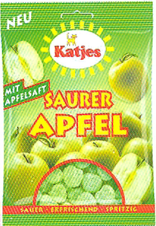 Katjes Sour Gummy Apples in bag, 200g