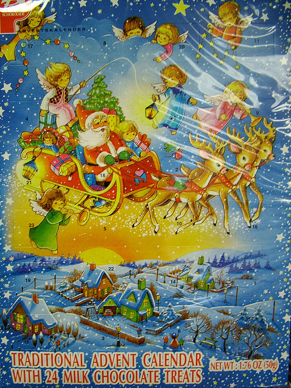 Traditional Advent Calendar - Santa, Sleigh & Reindeer